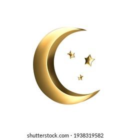 Vector Ramadan golden symbol. Realistic 3d gold crescent and stars.