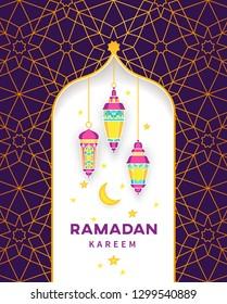 Vector Ramadan Kareem card. Bright lanterns for Ramadan wishing. Arabic shining lamps. Decor in Eastern style. Islamic background. Card for Muslim feast of the holy of Ramadan month.