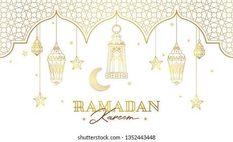 Vector Ramadan Kareem card. Golden vintage banner with gold lanterns for Ramadan wishing. Arabic shining lamps. Islamic background. Illustration. Card for Muslim feast of the holy of Ramadan month.
