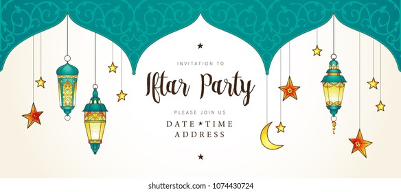 Vector Ramadan Kareem card, ornate invitation to Iftar party celebration. Lantern for Ramadan wishing. Arabic shining lamps. Card for Muslim feast of the holy of Ramadan month. Eastern style.