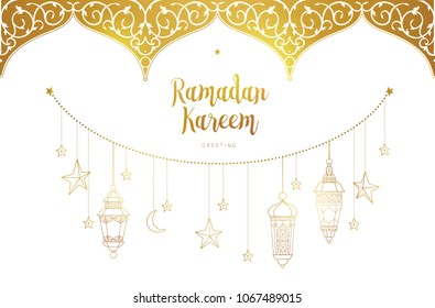 Vector Ramadan Kareem cards. Golden banner with lanterns for Ramadan wishing. Arabic shining lamps. Decor in Eastern style. Islamic background. Cards for Muslim feast of the holy of Ramadan month.