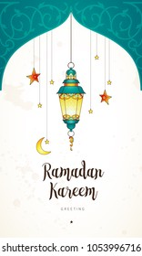 Vector Ramadan Kareem cards. Vintage banner with lantern for Ramadan wishing. Arabic shining lamp. Decor in Eastern style. Islamic background. Cards for Muslim feast of the holy of Ramadan month.