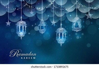 Vector Ramadan Kareem greeting card with Clouds and Stars on Night Sky Background.  Traditional Lanterns and Place for your Text.