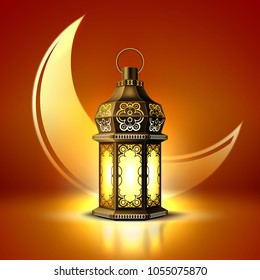 Vector ramadan kareem poster, celebration lamp lantern realistic 3d illustration. Arabic islam culture festival decoration religious fanoos glowing moon background Traditional muslim invitation card