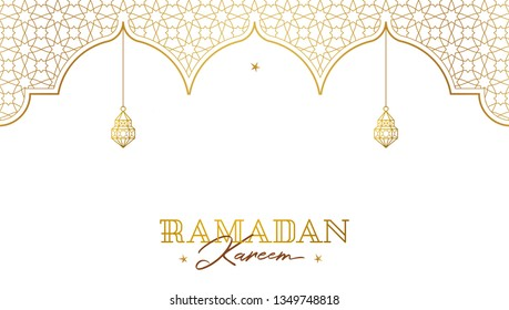 Vector Ramadan Kareem pre-made card. Golden vintage banner with arches for yours Ramadan wishing. Place for greeting text. Islamic background for Muslim feast of the holy of Ramadan month.
