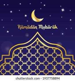 vector ramadan mubarak golden greeting card with blue background