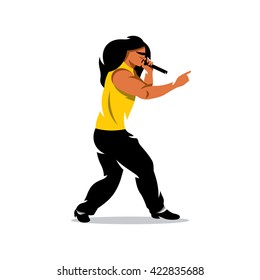 Vector Rap Battle Boy Cartoon Illustration. Man with microphone. Branding Identity Corporate unusual Logo isolated on a white background