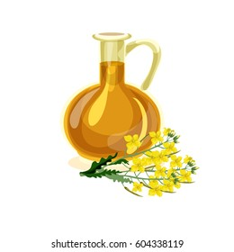 Vector  rapeseed oil mug icon. Illustration isolated on the white background.Rapeseed oil composition. Can be used as label. Eco-product. Natural plant oil.