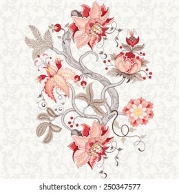 Vector rapport for ornament. Beautiful fantastic flower with leaves, tendrils and berries. Delicate seamless background. Motives of the paintings of vintage Indian fabrics. Tree of Life collection.