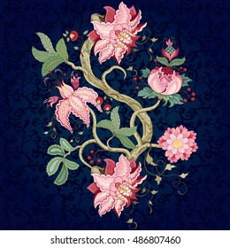 Vector rapport for ornament. Tree of Life collection. Fantastic flower with leaves, tendrils and berries. Dark seamless background. Motives of the paintings of vintage Indian fabrics.