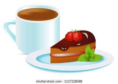 Vector raspberry cake and mint on the plate with cup of coffee. Images on isolated white background. Perfect for cooking games, cookbook, menu or other design works