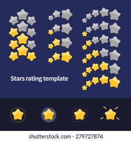 Vector rating template. Three and five stars achievement icons and elements.