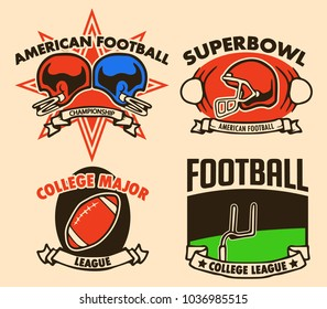 Vector raw line illustration collection of American Football Label