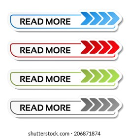 Vector read more buttons with arrows - labels on the white background