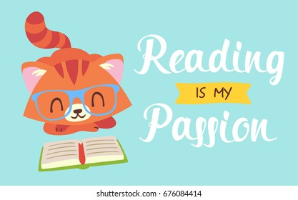 vector reading is my passion nerd cat vector illustration