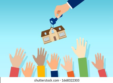 Vector of a real estate agent with house key offering property for sale to a crowd of interested people