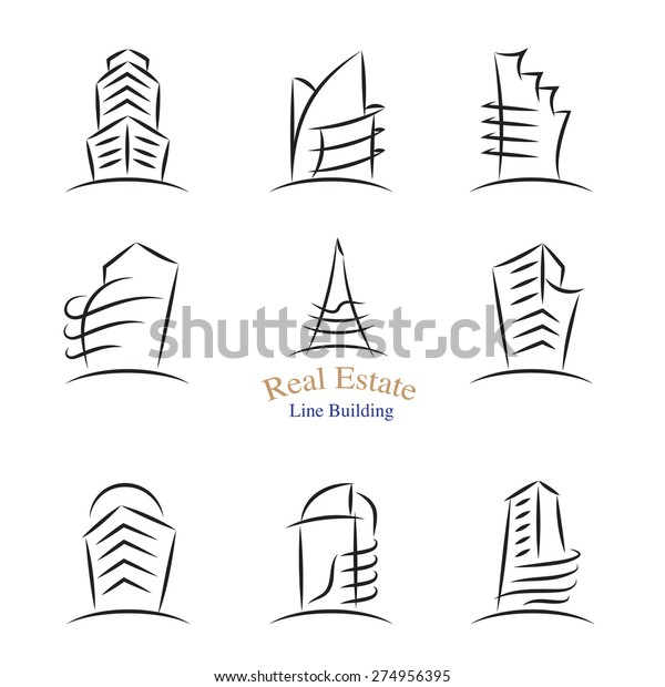 Vector Real Estate Building Icons Line Stock Vector (Royalty