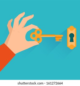 Vector real estate concept - hand holding golden key in flat style