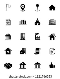 vector real estate icons, sale and rent sign symbols - commercial residential building. property mortgage silhouette