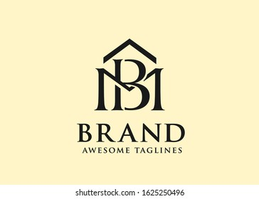 Vector real estate with initial Letter MB or BM Logo design template