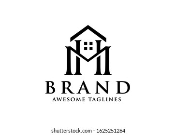 Vector real estate with initial Letter HM or MH Logo design template