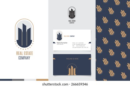 Vector : Real Estate Logo with business name card and corporate pattern in luxury geometric style, Branding concept