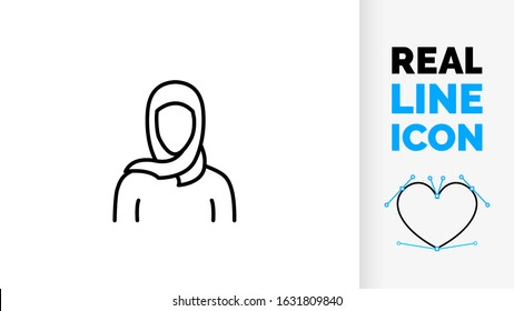 Vector real line icon of middle eastern woman in head scarf or hijab traditional Arabic islam clothing used by muslim girl and Arabian ethnic eastern faith people editable black stroke logo or symbol