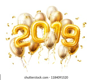 Vector realistic 2019 golden air balloons with confetti new year, merry christmas celebration decoration design elements. Traditional xmas party greeting symbols illustration isolated background