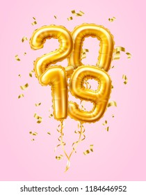 Vector realistic 2019 golden air balloons with confetti new year, merry christmas celebration decoration design elements. Traditional xmas party greeting symbols illustration pink background