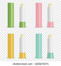 Vector Realistic 3d Blank Closed and Opened Lip Balm Stick Set - Green, Pink, Orange, Blue. Closeup Isolated on Transparent Background. Design Template for Cosmetic Packaging, Lipstick, Mockup