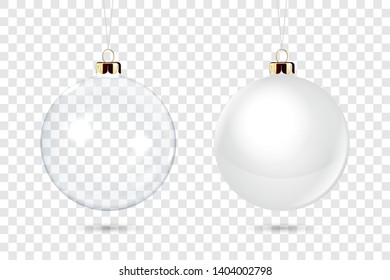 Vector Realistic 3d Christmas Glossy Glass Ball Icon, Mock-up Set Closeup Isolated on Transparency Grid Background. Design Template of Xmas and New Year Tree Toy Decoration Ball for Mockup. Front View