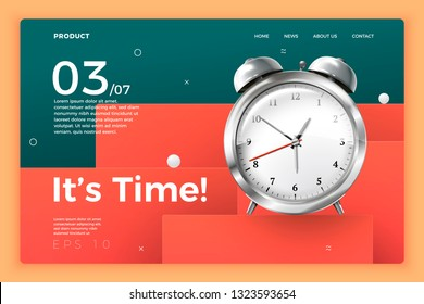 Vector realistic 3d clockwork watch isolated on bright modern site template with typographic background. Mock-up for product package branding.
