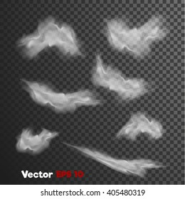vector realistic 3d clouds of steam, vapour misty fog. grey Haze, ghost style illustration on dark transparent background. Web design, decoration element. Banner, print, poster objects