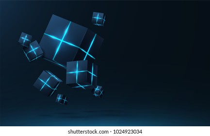 Vector realistic 3d cubes with neon parts compose on dark space background . Cyberspace ,Hi tech , futuristic vector illustration . Blockchain visual concept