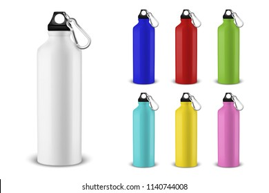 Vector realistic 3d different color empty glossy metal water bottle with black bung icon set closeup on white background. Design template of packaging mockup for graphics. Front view