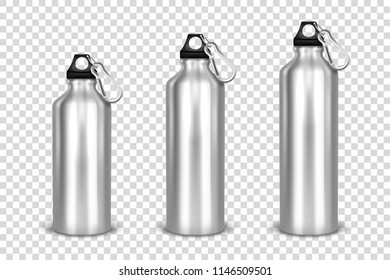 Vector realistic 3d different size - small, medium, large - silver empty glossy metal water bottle with black bung icon set closeup on transparency grid background. Design template of packaging mockup