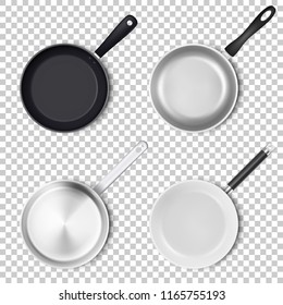 Vector realistic 3d empty black, silver, non-stick, enamel, white cover surface frying pan icon set in top view isolated on transparency grid background. Design template for graphics