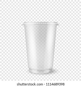 Vector realistic 3d empty clear plastic disposable cup closeup isolated on transparency grid background. Design template of packaging mockup for graphics - milkshake, tea, fresh juice, lemonade