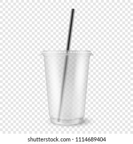 Vector realistic 3d empty clear plastic disposable cup with a straw closeup isolated on transparency grid background. Design template of packaging mockup for graphics - milkshake, tea, fresh juice