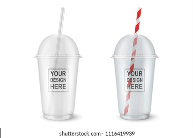 Vector realistic 3d empty clear plastic disposable cup set closeup isolated on transparency grid background. Design template of packaging mockup for graphics - milkshake, tea, fresh juice, lemonade