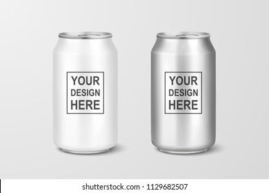 Vector realistic 3d empty glossy metal silver aluminium beer pack or can visual 330ml. Can be used for lager, alcohol, soft drink, soda, fizzy pop, lemonade, cola, energy drink, juice, water etc. Icon