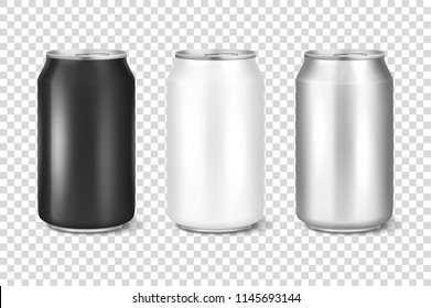 Vector realistic 3d empty glossy metal white, black and silver aluminium beer pack or can set visual 330ml. Can be used for lager, alcohol, soft drink, soda, fizzy pop, lemonade, cola, energy drink