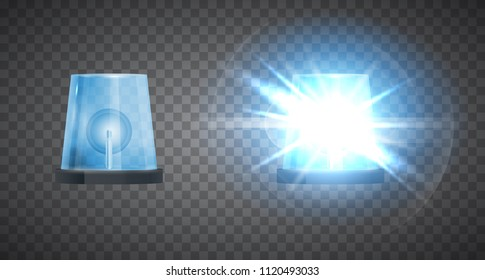 Vector realistic 3d flasher siren isolated on transparent background. Emergency beacon.
