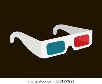 Vector realistic 3d glasses with red, blue lenses for cinema. Cardboard spectacles for movie, film.