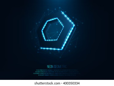 Vector realistic 3d hexagon with neon parts in dark background .Futuristic illustration . Sci fi object , Realistic hexagon , Futuristic glowing  HUD hexagonal element .Nano techology