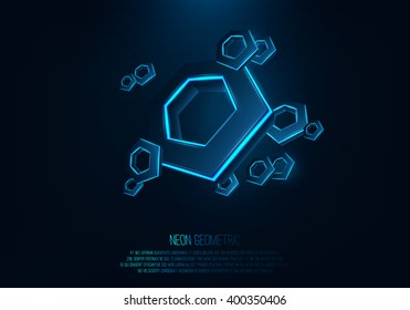 Vector realistic 3d hexagons with neon parts in dark background .Futuristic illustration . Sci fi object , Realistic hexagon , Futuristic glowing  HUD hexagonal element .Nano techology