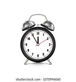 Vector realistic 3d illustration of black metallic alarm clock, isolated on white background. Retro style clock. Five minutes to twelve o'clock.