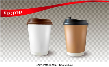 Vector realistic 3d illustration of black coffee cup.Cappuccino.Latte.Americano coffee on transparent background.Paper coffee cup.