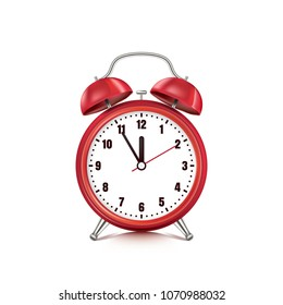 Vector realistic 3d illustration of red alarm clock, isolated on white background. Retro style clock. Five minutes to twelve o'clock.