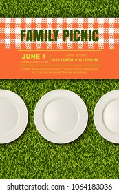 Vector realistic 3d illustration of three white empty plates, gingham red plaid on green grass lawn. Spring, summer picnic in park. Banner, poster design template.